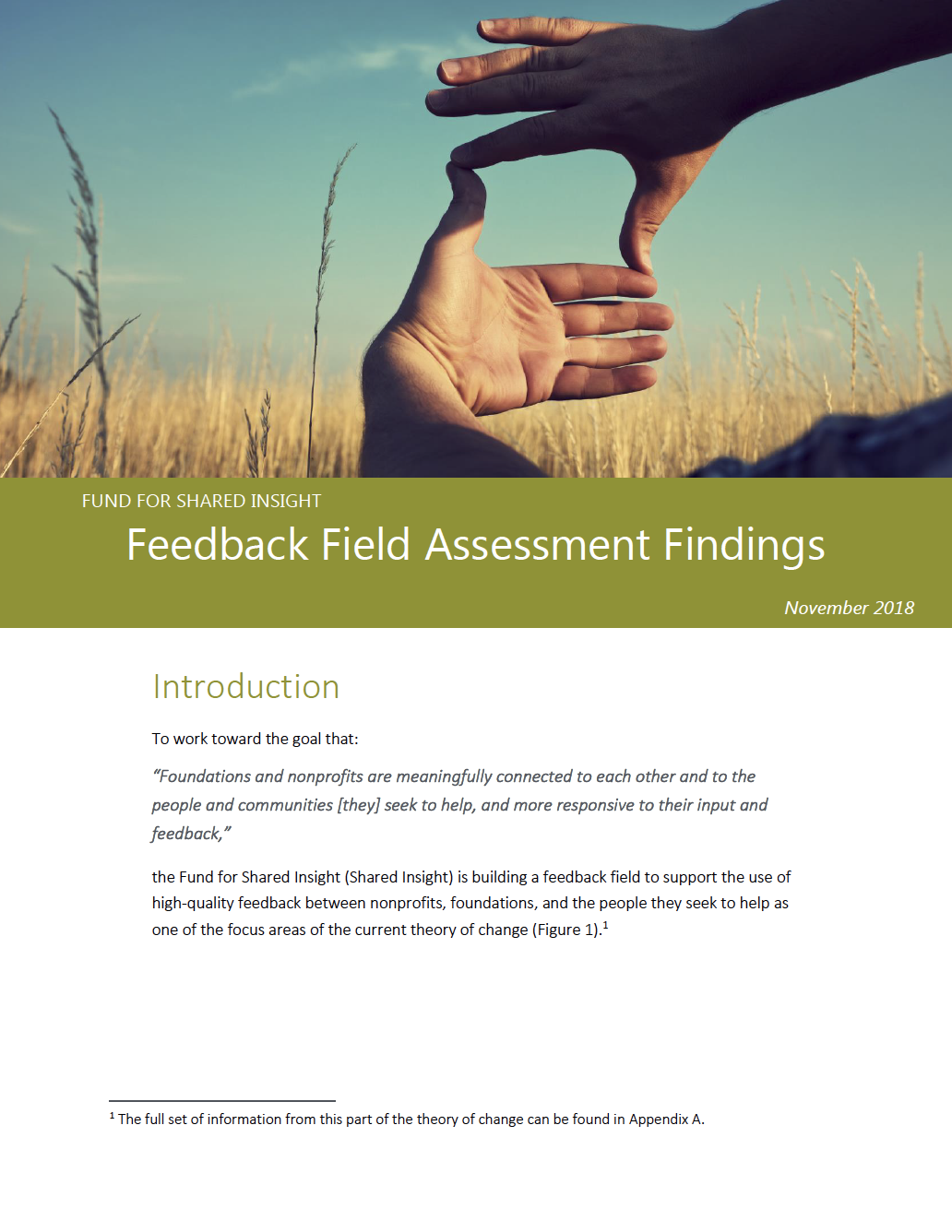 Feedback Field Assessment Findings