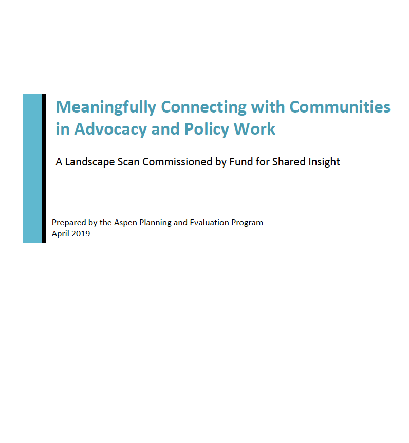 Landscape Scan: Meaningfully Connecting with Communities in Advocacy and Policy Work